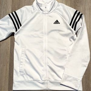 Adidas girls fitted white zip up jacket 10/12